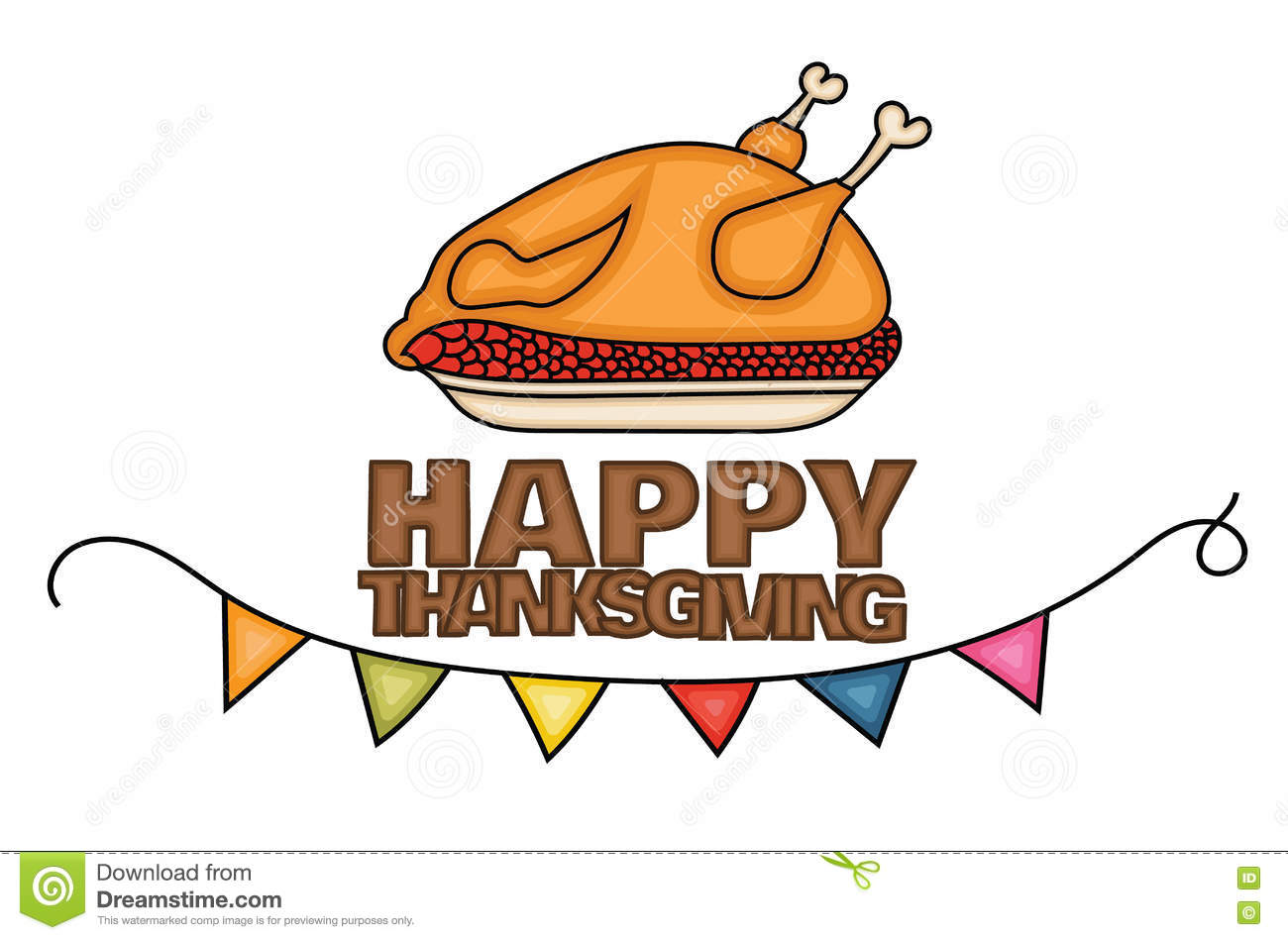 happy thanksgiving day banner sign with a cooked turkey in a dish for dinner  stock vector