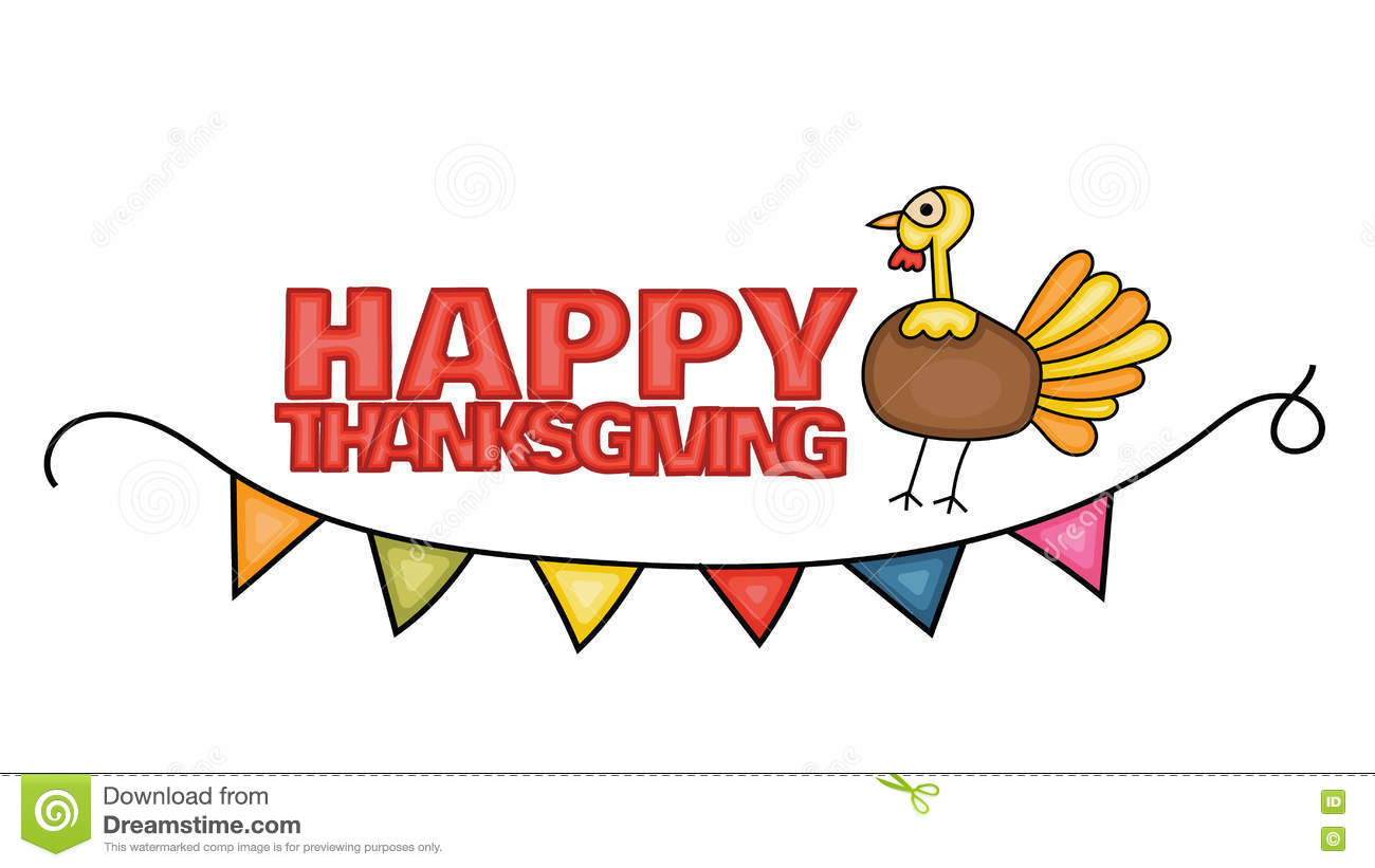 happy thanksgiving day banner sign with a turkey  stock vector