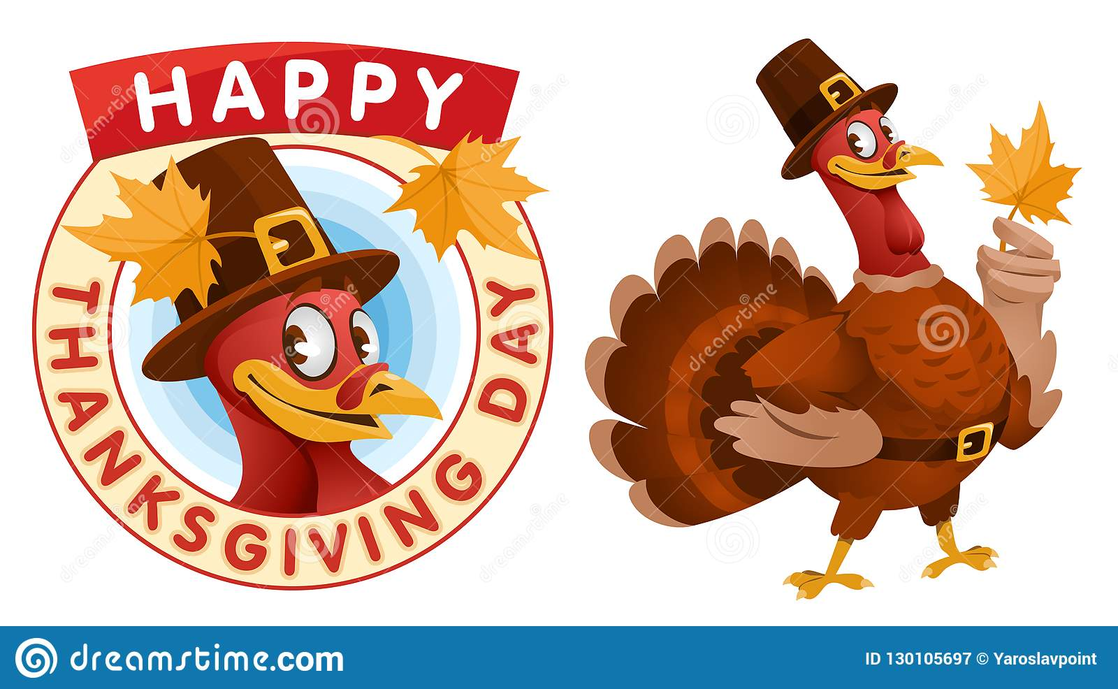 Happy Thanksgiving Day Cartoon Turkey In A Pilgrim Hat Keeps Th Stock Vector Illustration Of Isolated Event 130105697