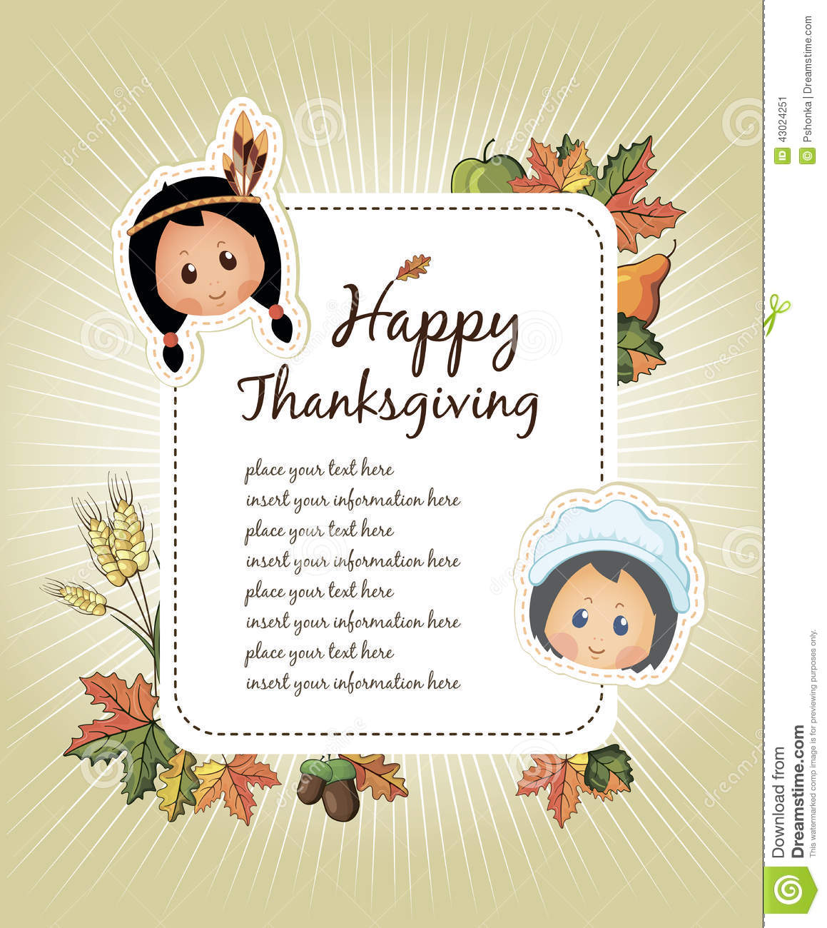 Happy Thanksgiving Day Celebration Flyer Stock Vector