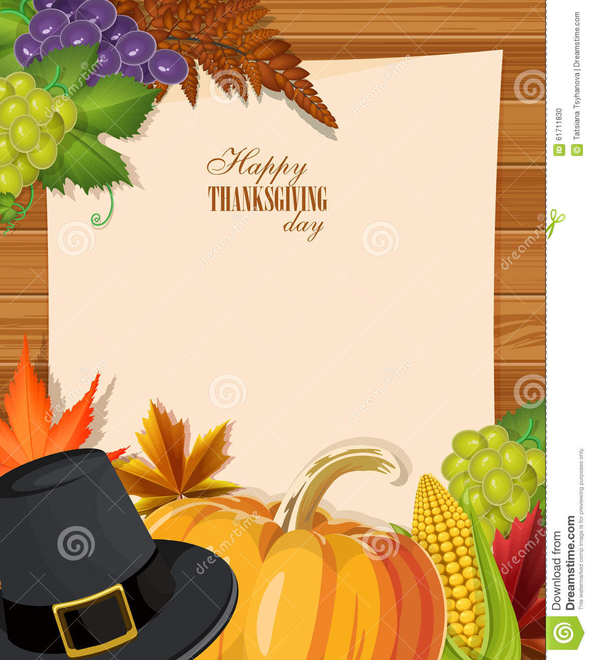 happy thanksgiving day greeting card with pumpkins