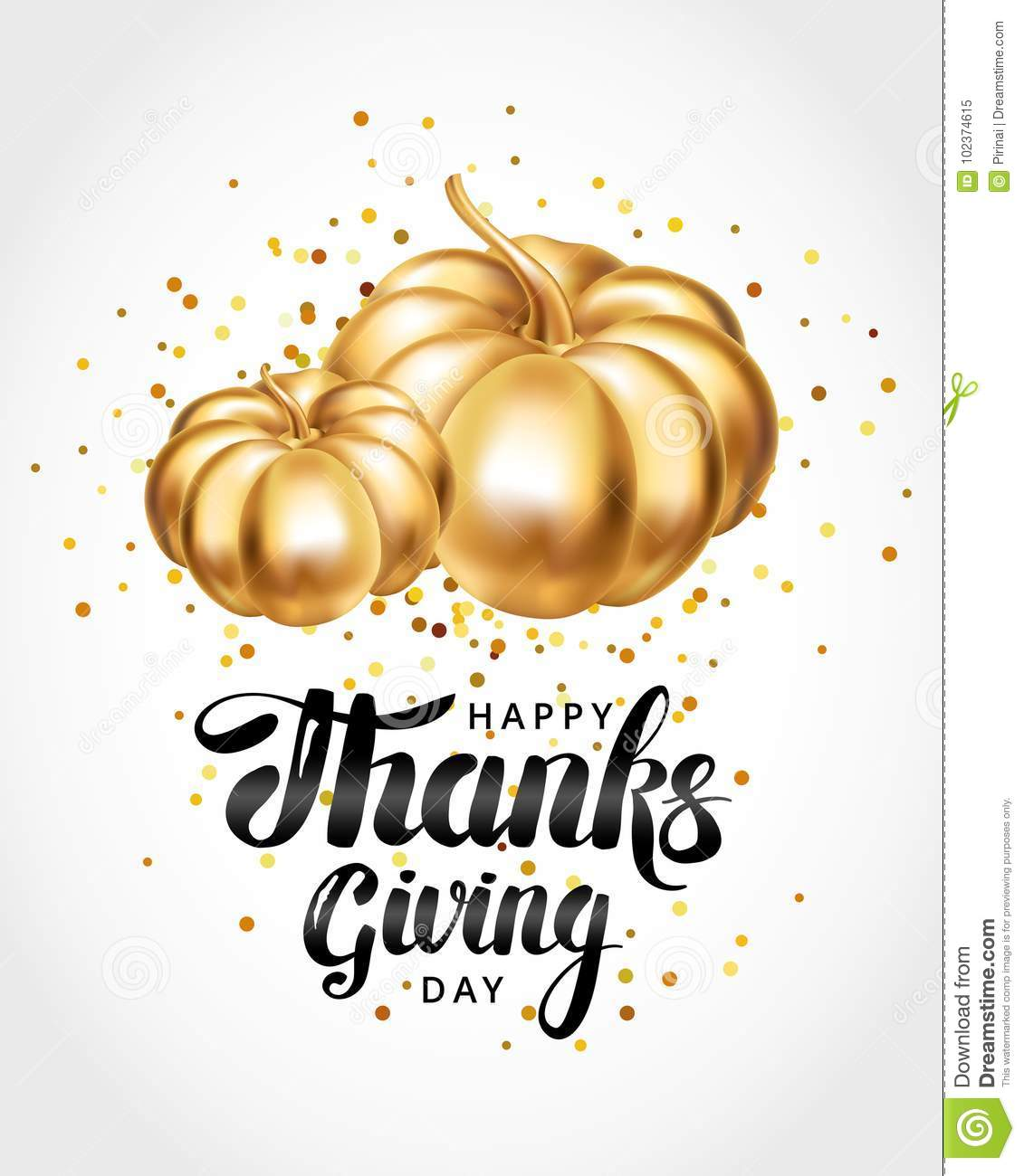 Happy Thanksgiving Day Greeting Card Stock Image Image Of Gold