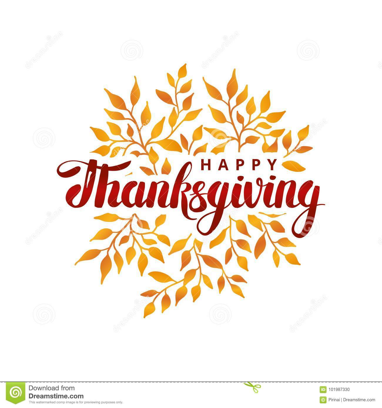 Happy Thanksgiving Day Template Stock Vector Illustration Of Leaf
