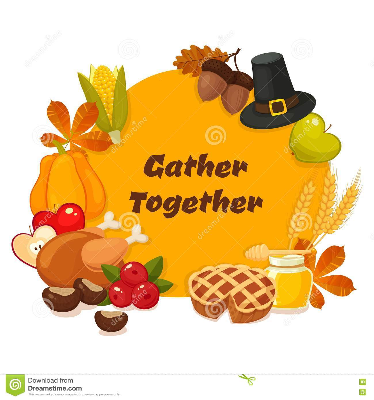 happy thanksgiving day vector banner with traditional table