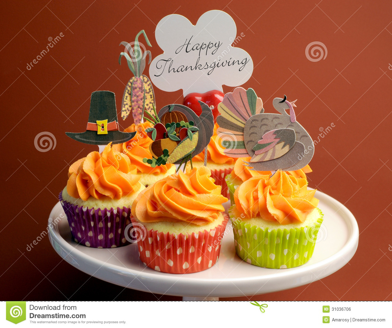 Thanksgiving cupcake decorations - Royalty Free Stock Photo Download Happy Thanksgiving Decorated Cupcakes