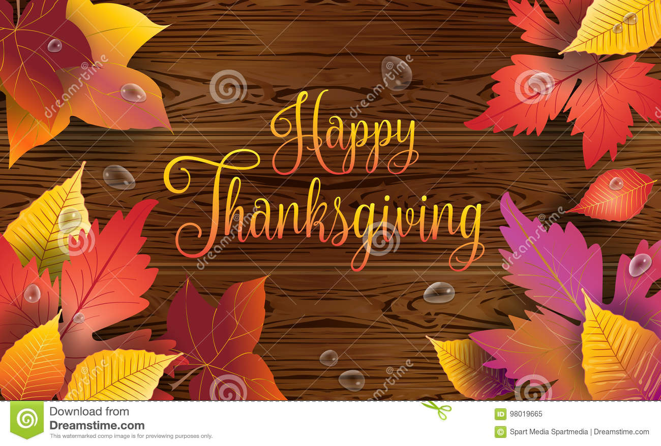 Happy Thanksgiving Fall Leaves Wallpaper Stock Vector