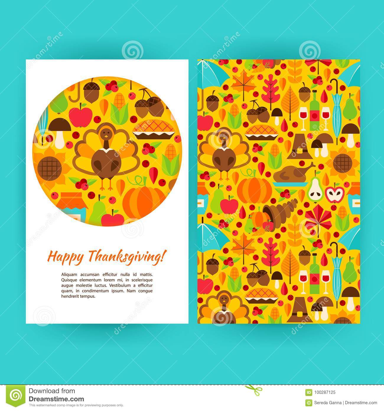 Happy Thanksgiving Flyer Template Stock Vector Illustration Of