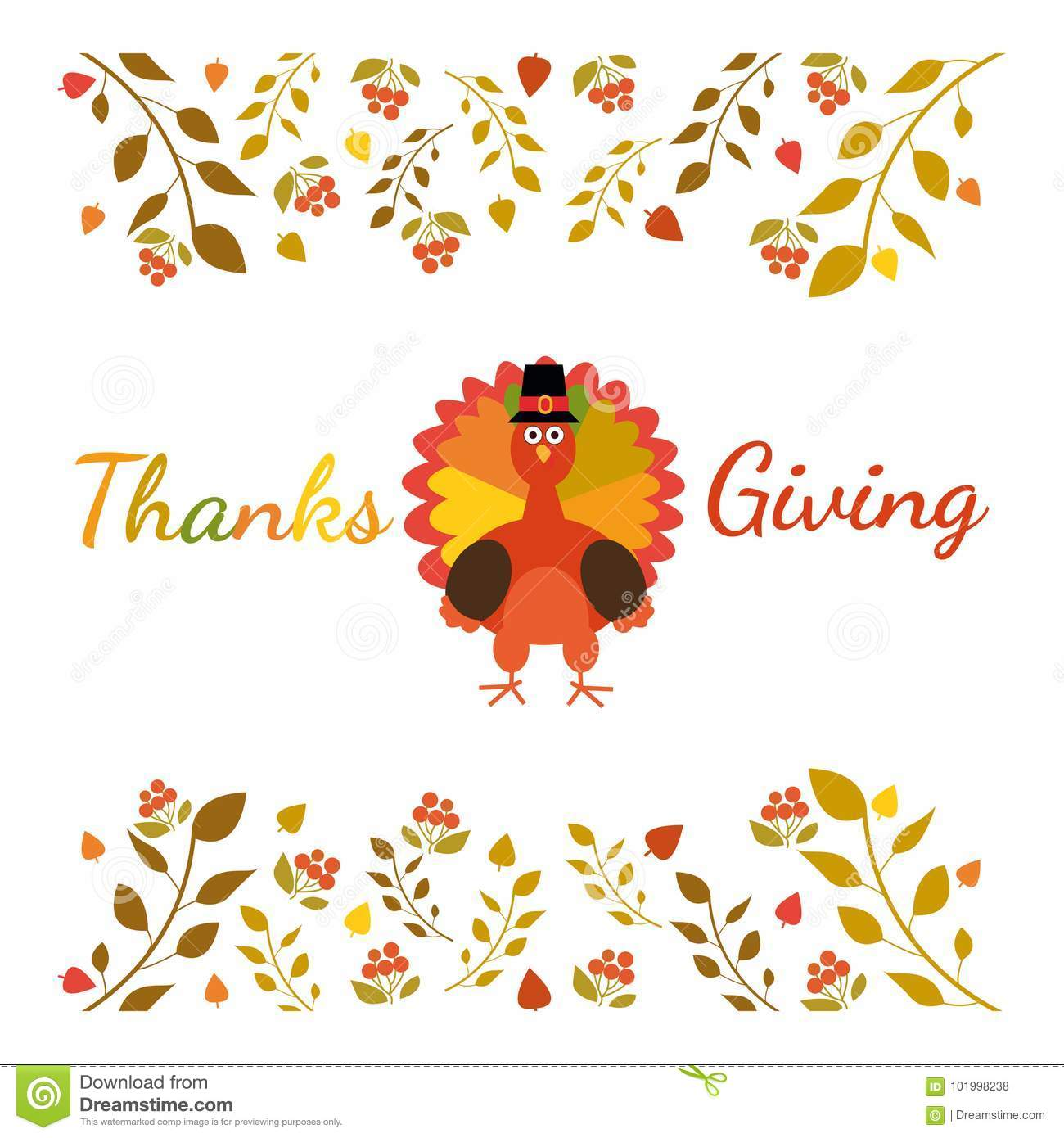 Happy Thanksgiving Greeting Card With Funny Cartoon Turkey Autumnal