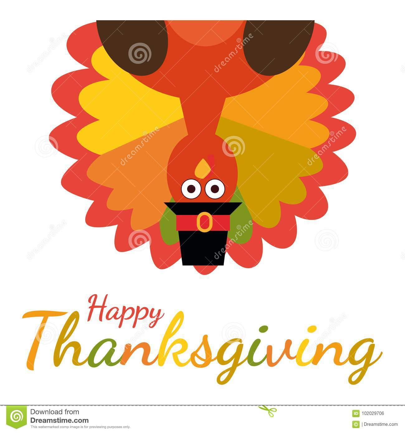 Happy Thanksgiving Greeting Card With Funny Cartoon Turkey Stock