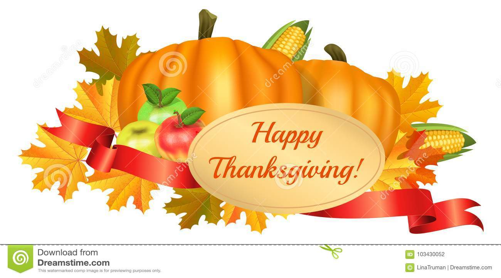Happy Thanksgiving Greeting Card Pumpkins Corn Apples Stock