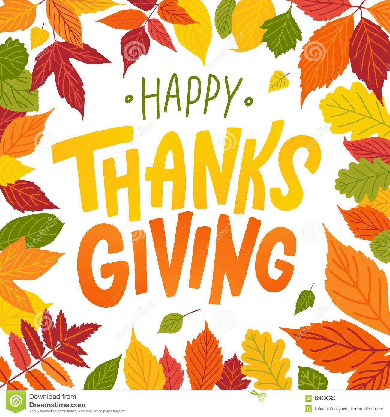 Happy Thanksgiving Hand Drawn Text Lettering Card Vector Illustration Stock Vector Illustration Of Brush Hand 124686522