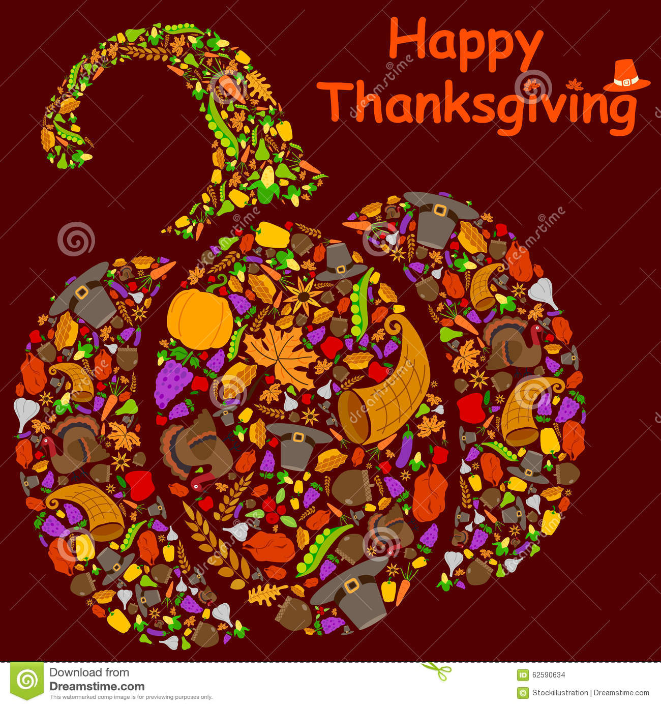 Happy Thanksgiving Holiday Greeting Card Stock Vector Illustration