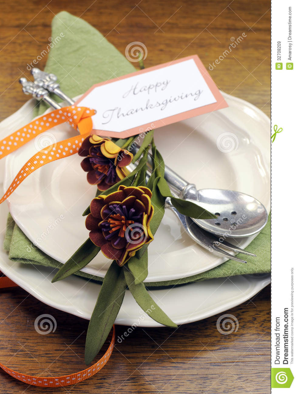 Happy Thanksgiving Individual Dinner Table Place Setting