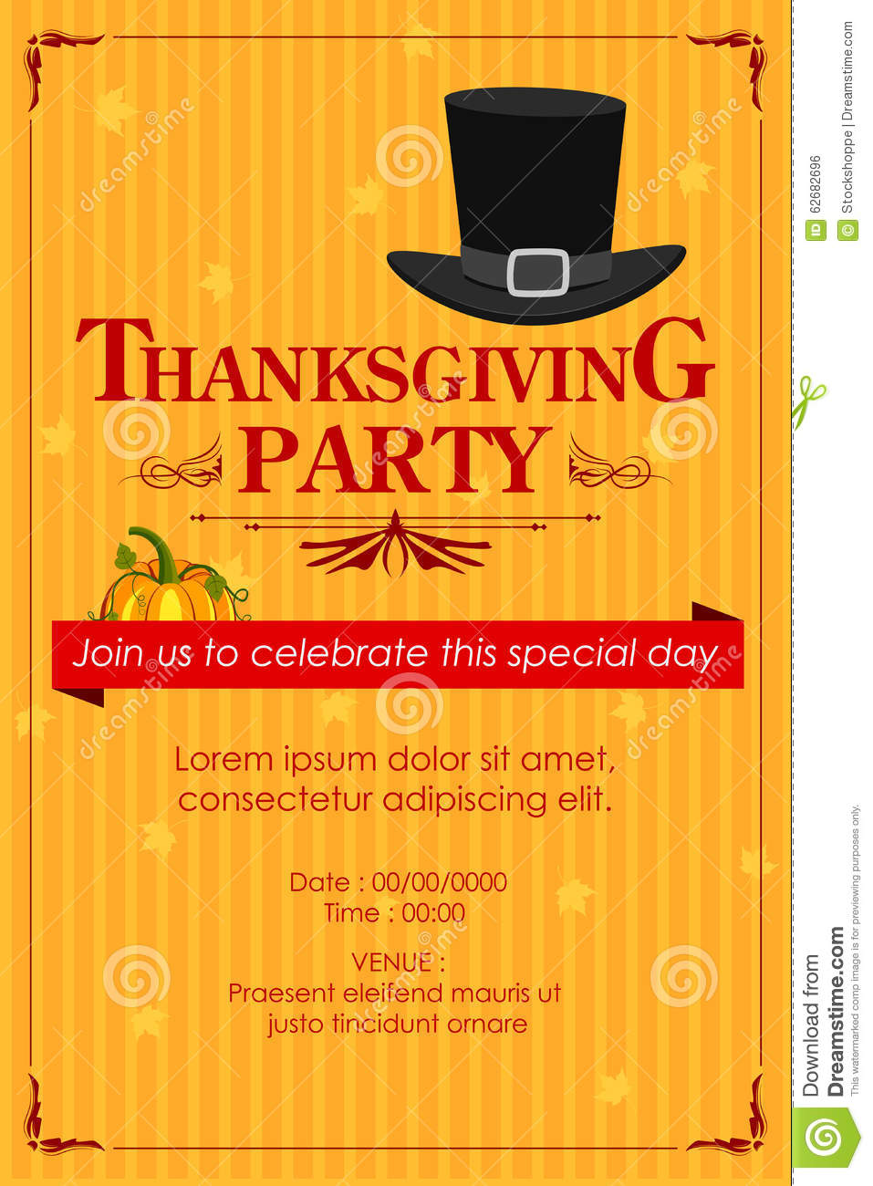 happy thanksgiving party invitation background stock