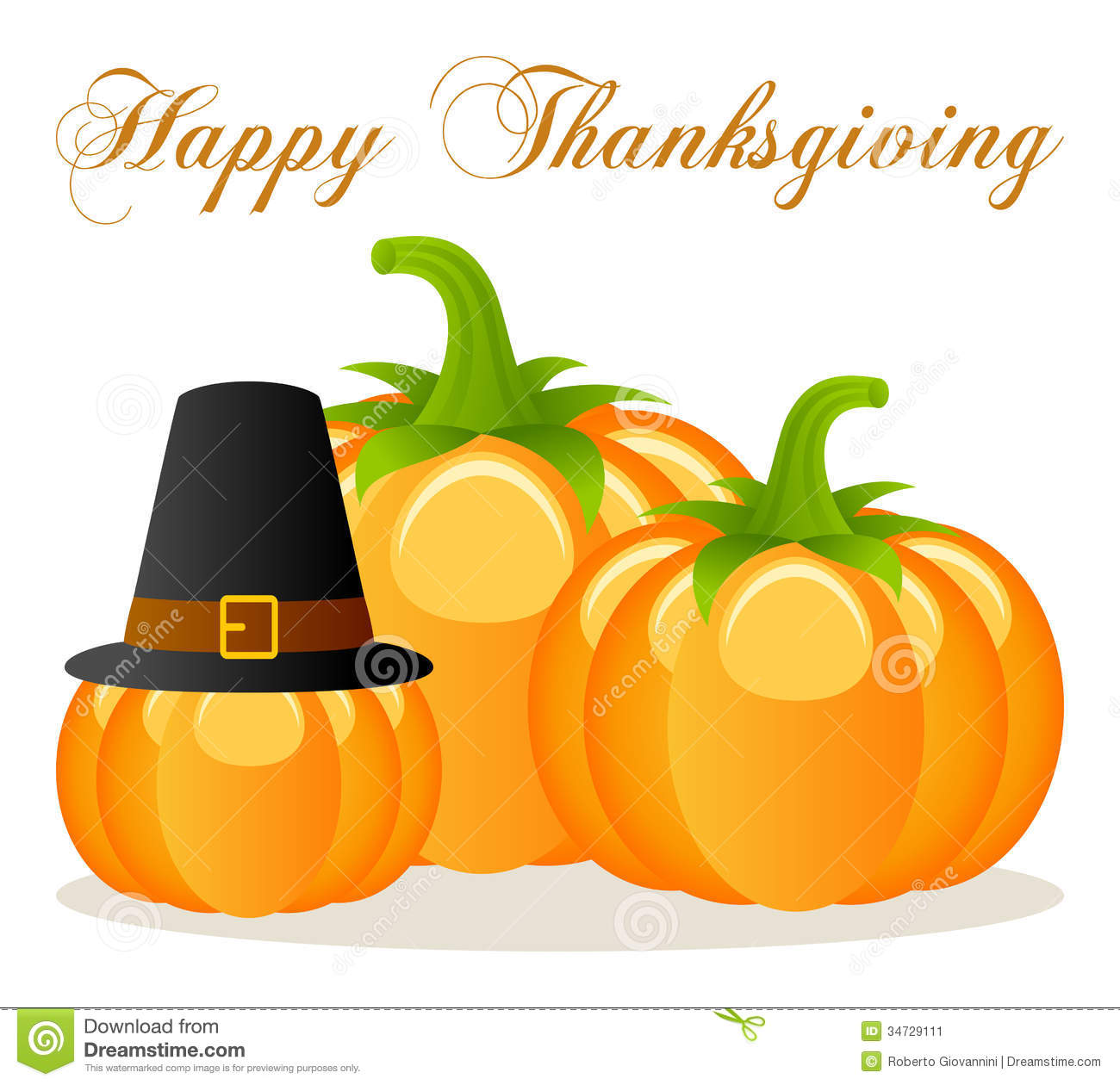Happy Thanksgiving pumpkins, one with a pilgrim hat
