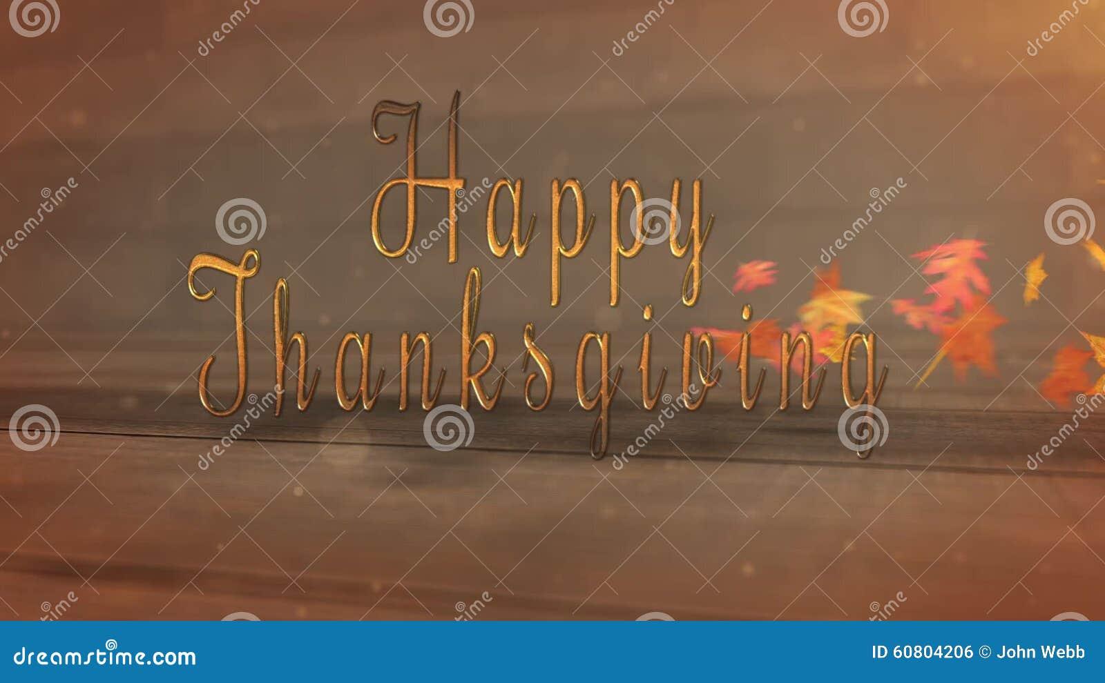 Happy Thanksgiving Rustic Sideways Blowing Leaves Reveal Stock Footage