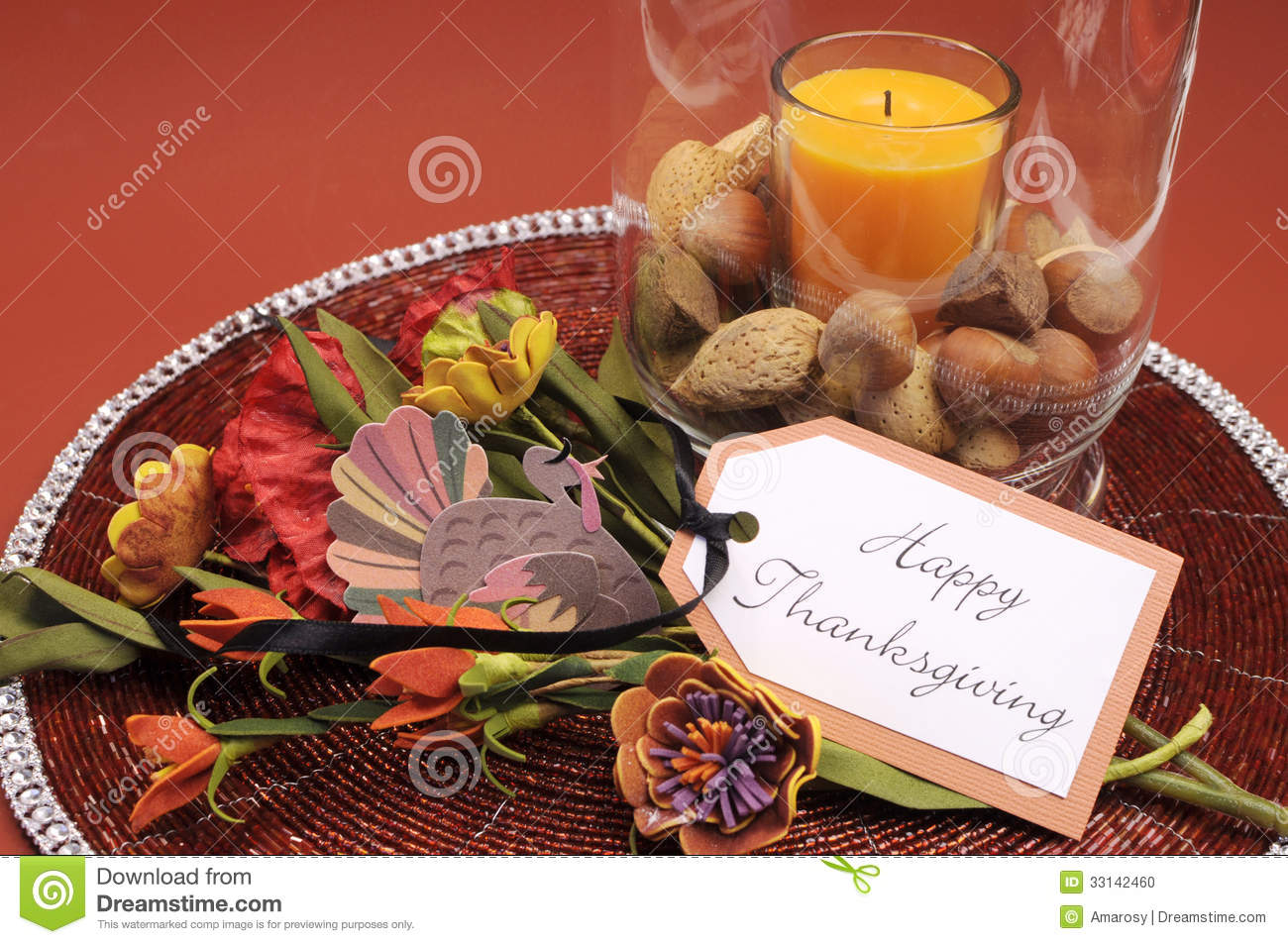 Happy Thanksgiving Table Setting Centerpiece With Ornage