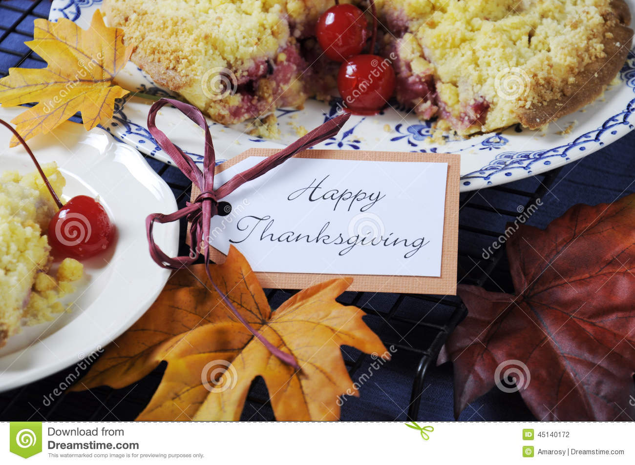 Happy Thanksgiving Table Setting With Cherry Apple Crumble Pie