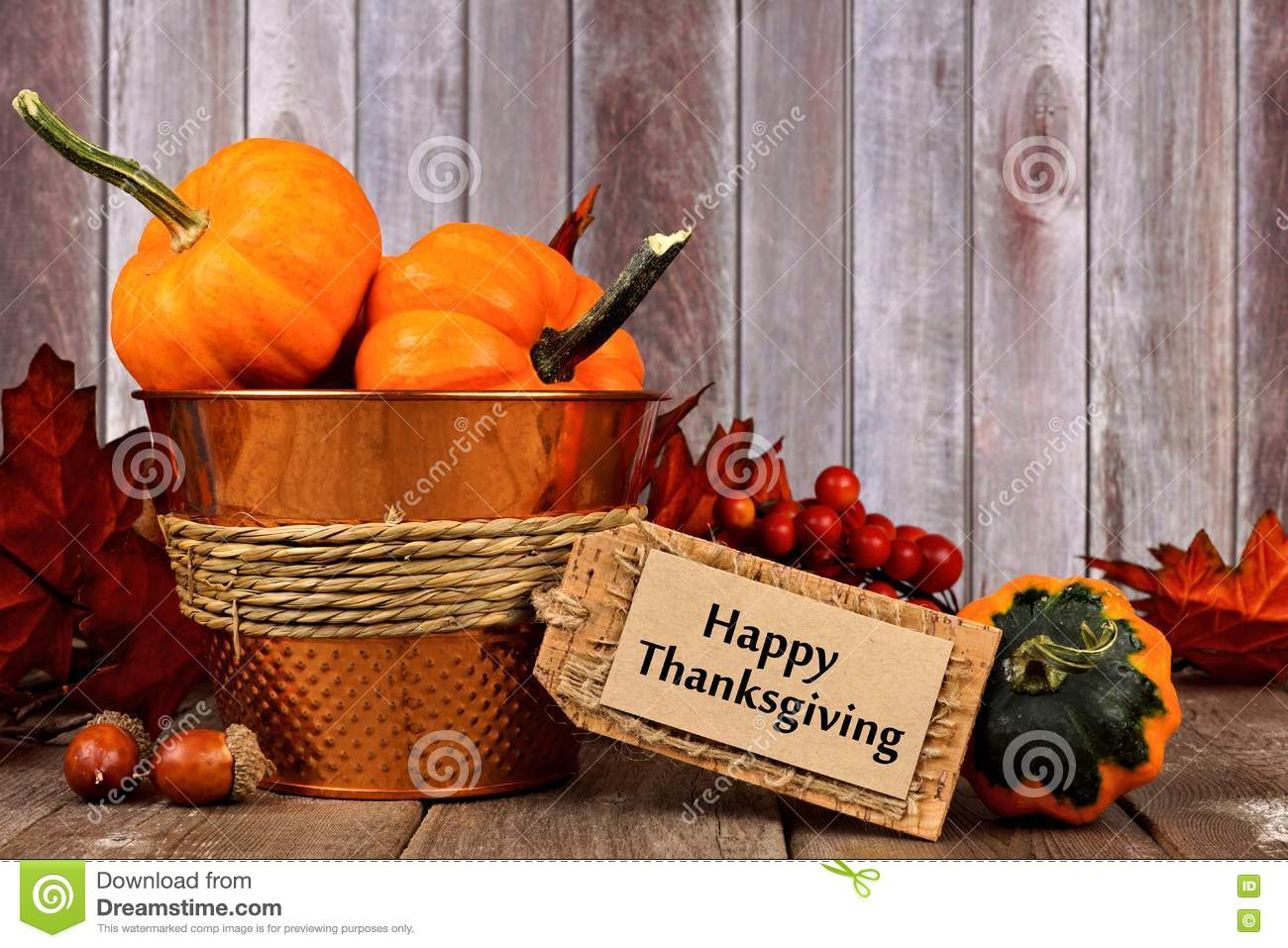Download Happy Thanksgiving Tag And Autumn Decor With Rustic Wood Background Stock Image
