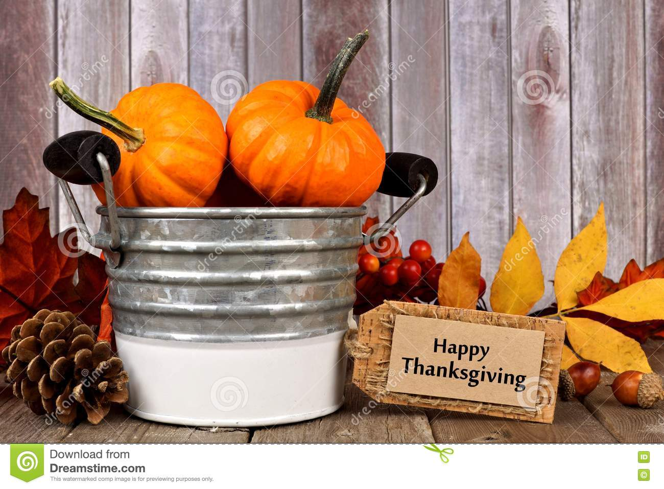 Happy Thanksgiving Tag And Autumn Decor With Rustic Wood Background Stock Photo