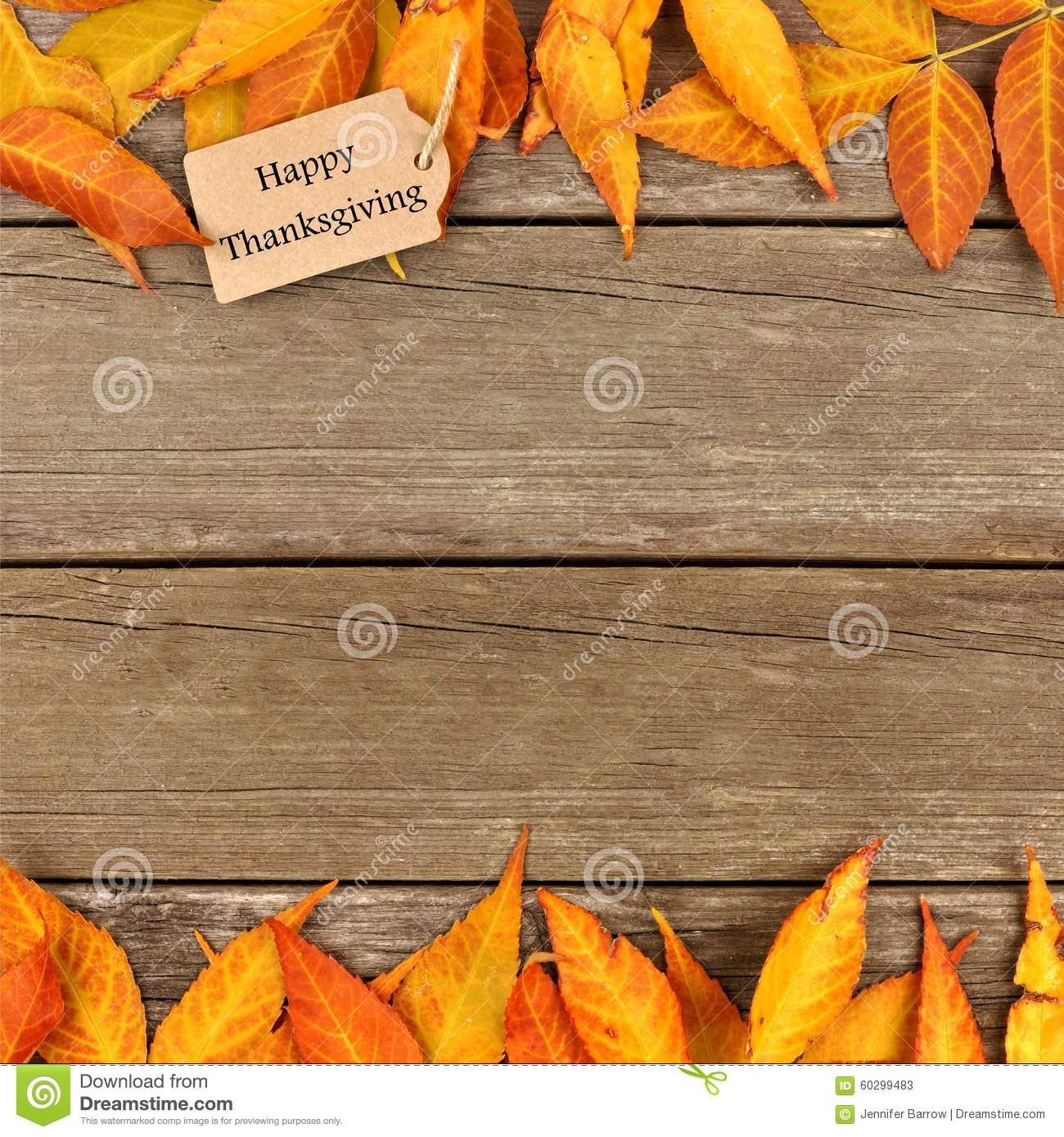 Happy Thanksgiving Tag With Frame Of Autumn Leaves On Wood Stock ...