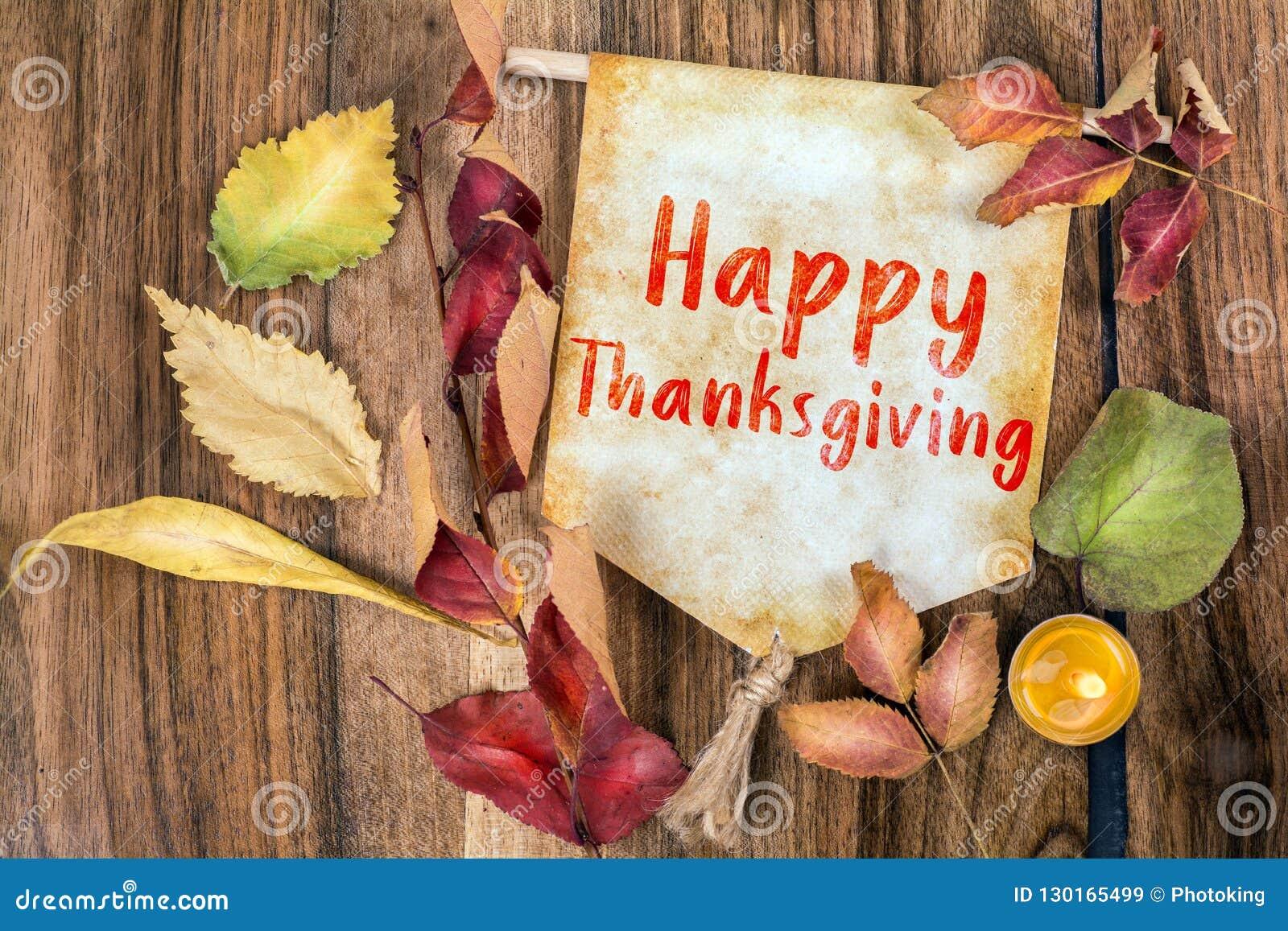 Happy thanksgiving text with autumn theme