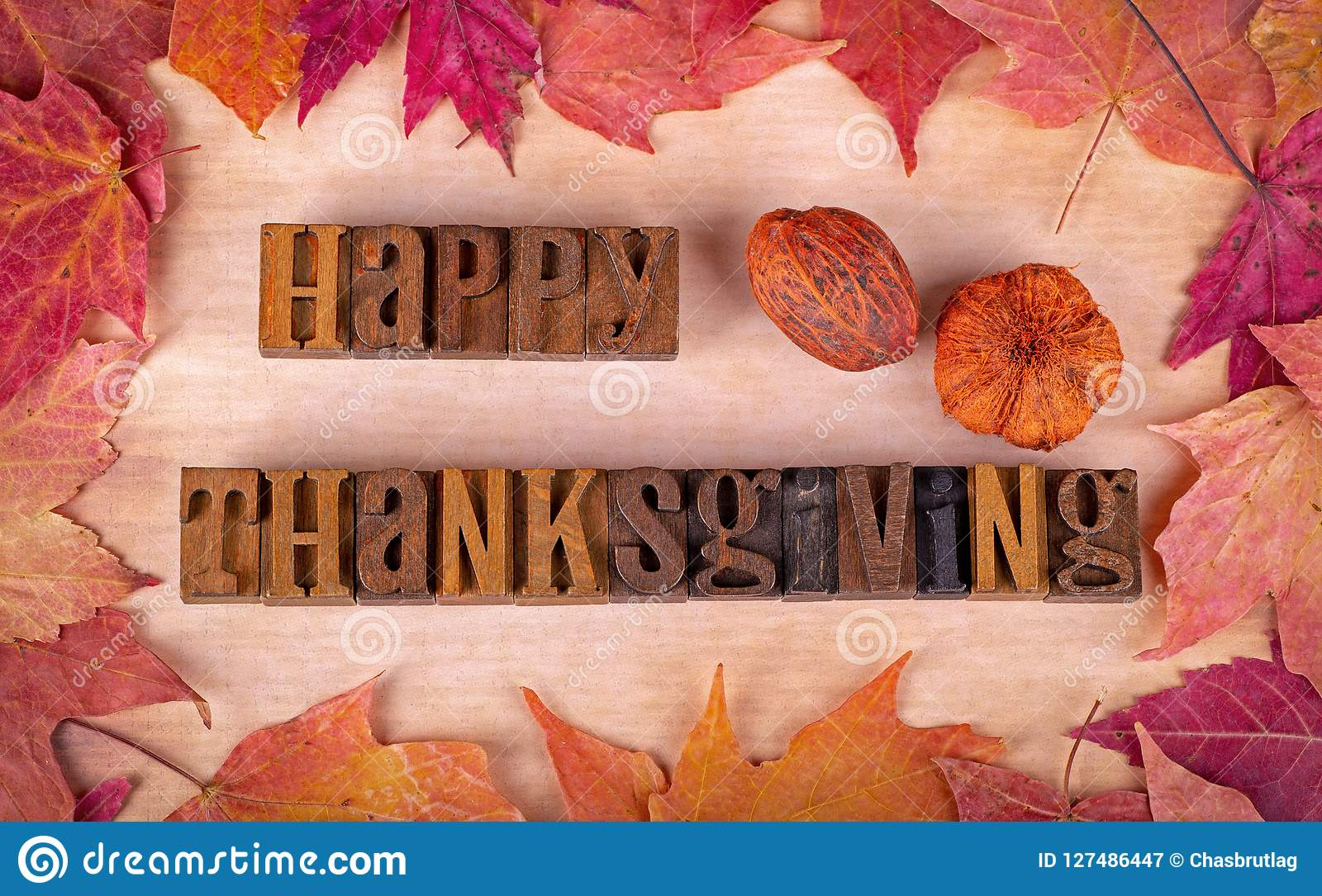 happy thanksgiving text with colorful autumn leaf border stock image