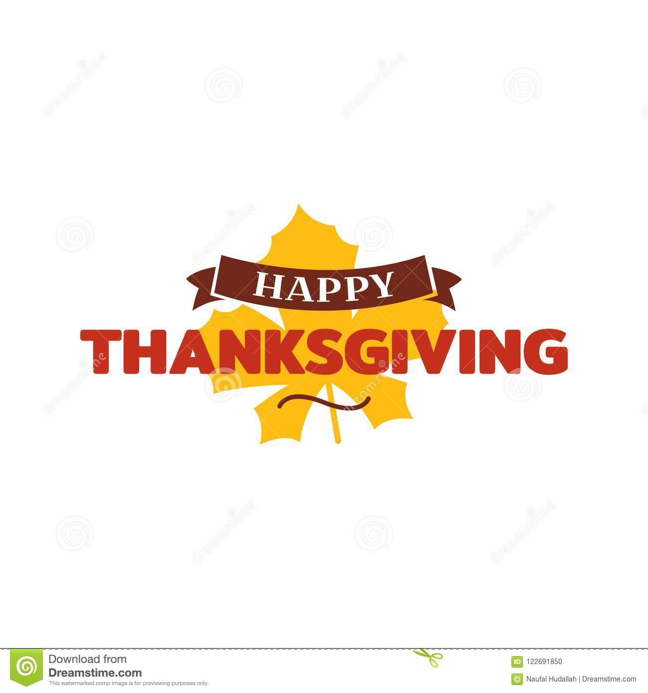 Happy thanksgiving text with dried leave background. Autumn fall typography design.