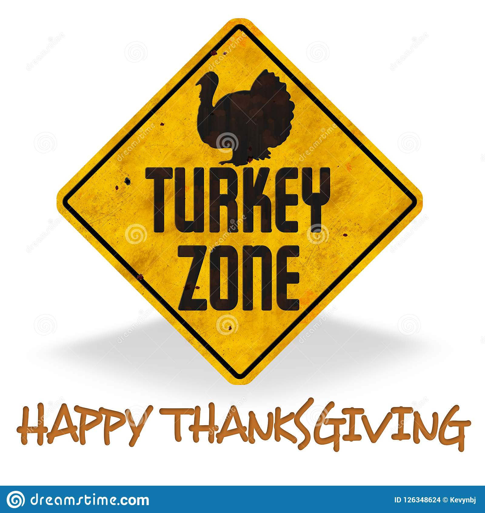 Happy Thanksgiving Turkey Zone Sign Grunge Fun