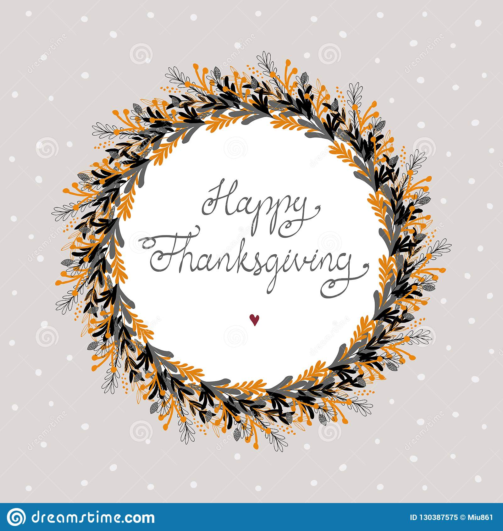 Happy Thanksgiving Vector Card Round Shape Floral Wreath Stock