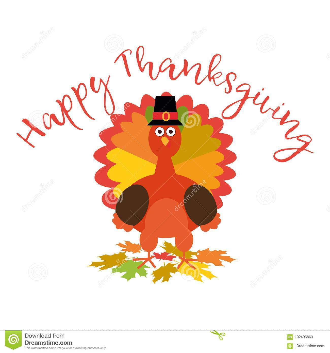 Happy Thanksgiving Greeting Card With Funny Cartoon Turkey Vector