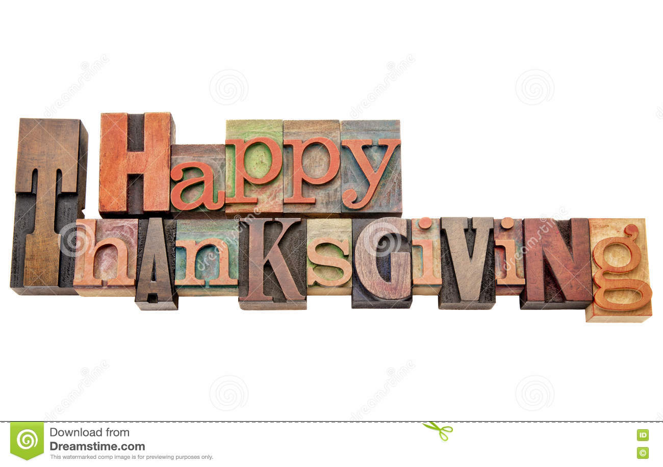 Happy Thanksgiving word abstract in wood type
