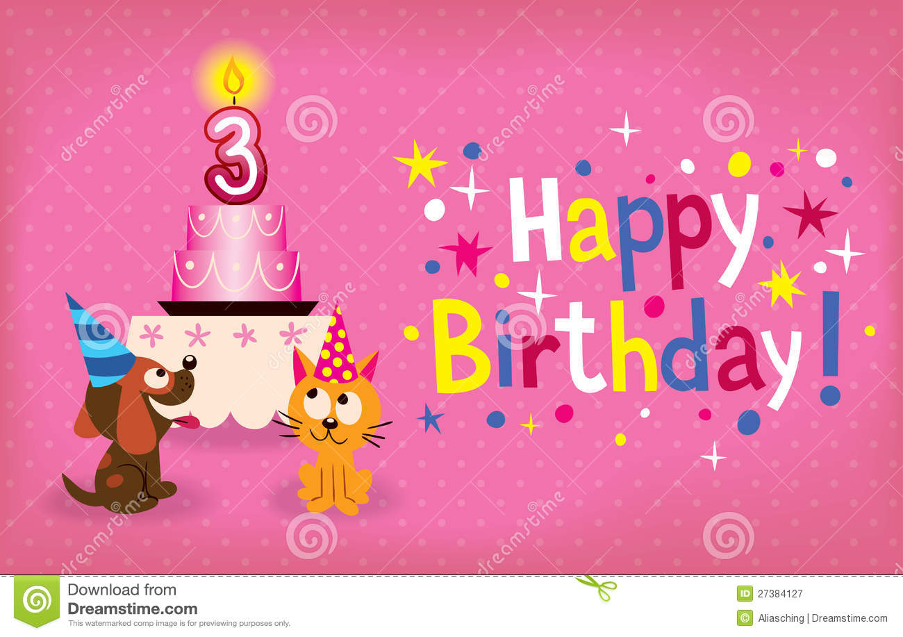 Cute Kitten And Puppy Happy Third Birthday Card