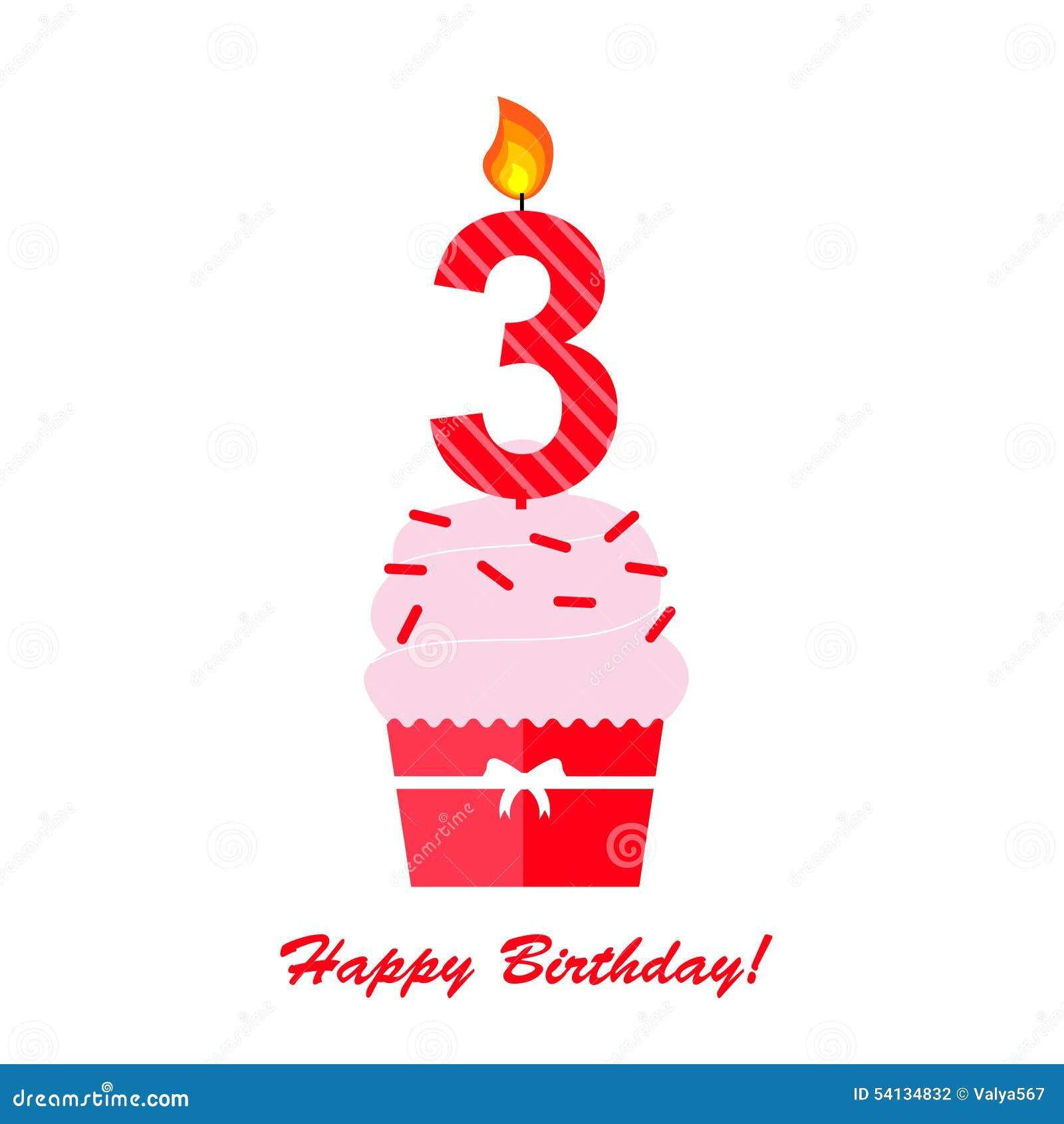 Happy Third Birthday Anniversary Card Stock Vector