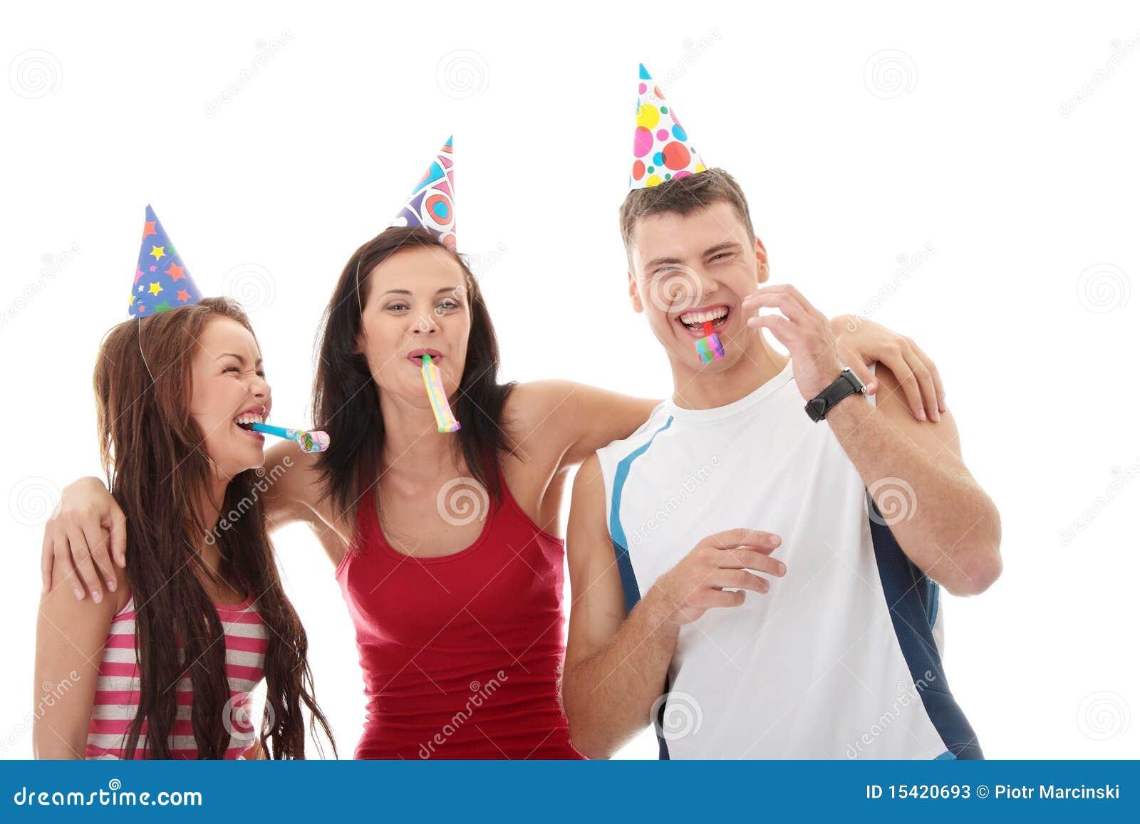 happy three friends
