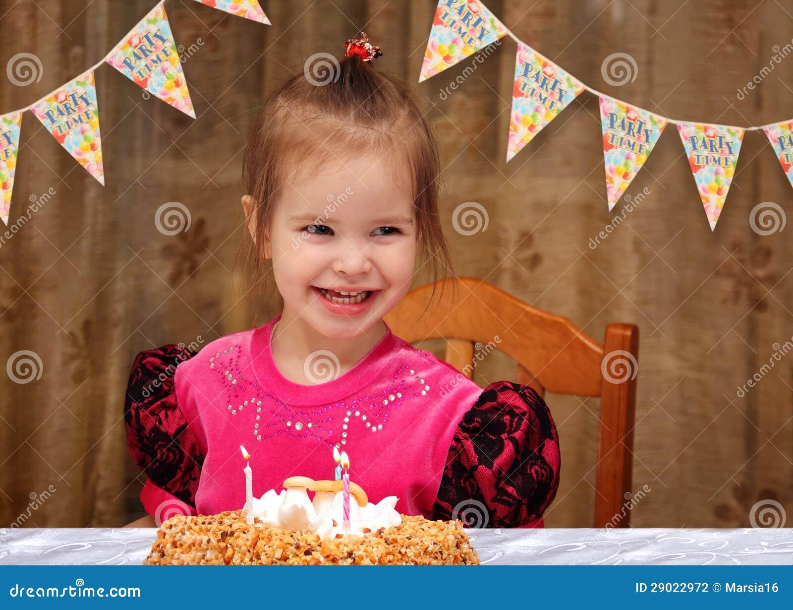 Happy three year old girl birthday