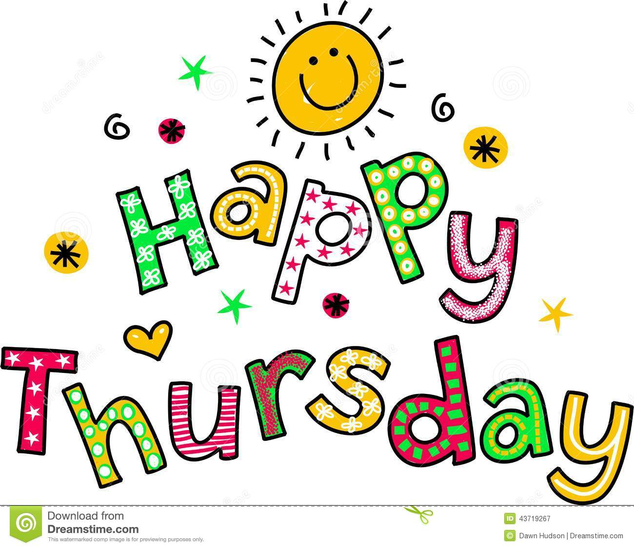 Happy Thursday Cartoon Text Clipart Stock Illustration