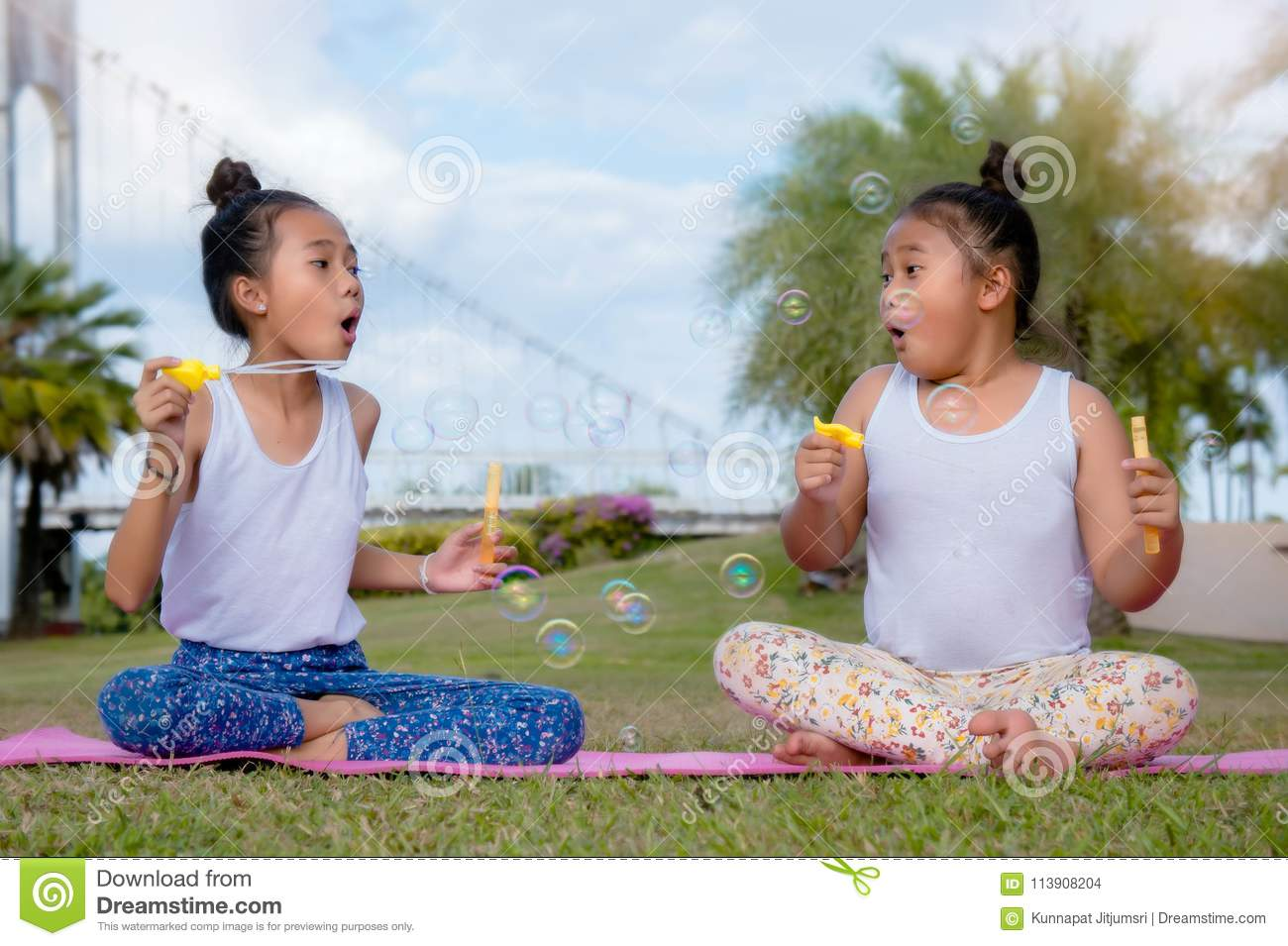 Happy time of friendship , two girl kid sister play soap bubble Smil