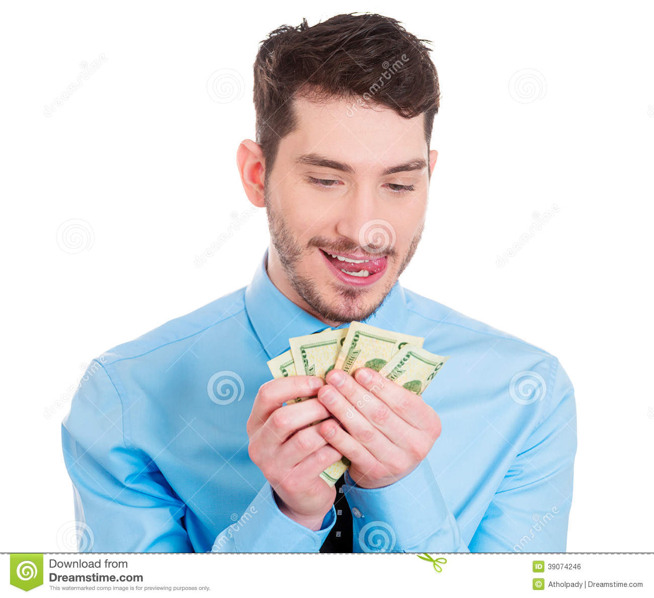 Happy To Have Cash Stock Photo - Image: 39074246