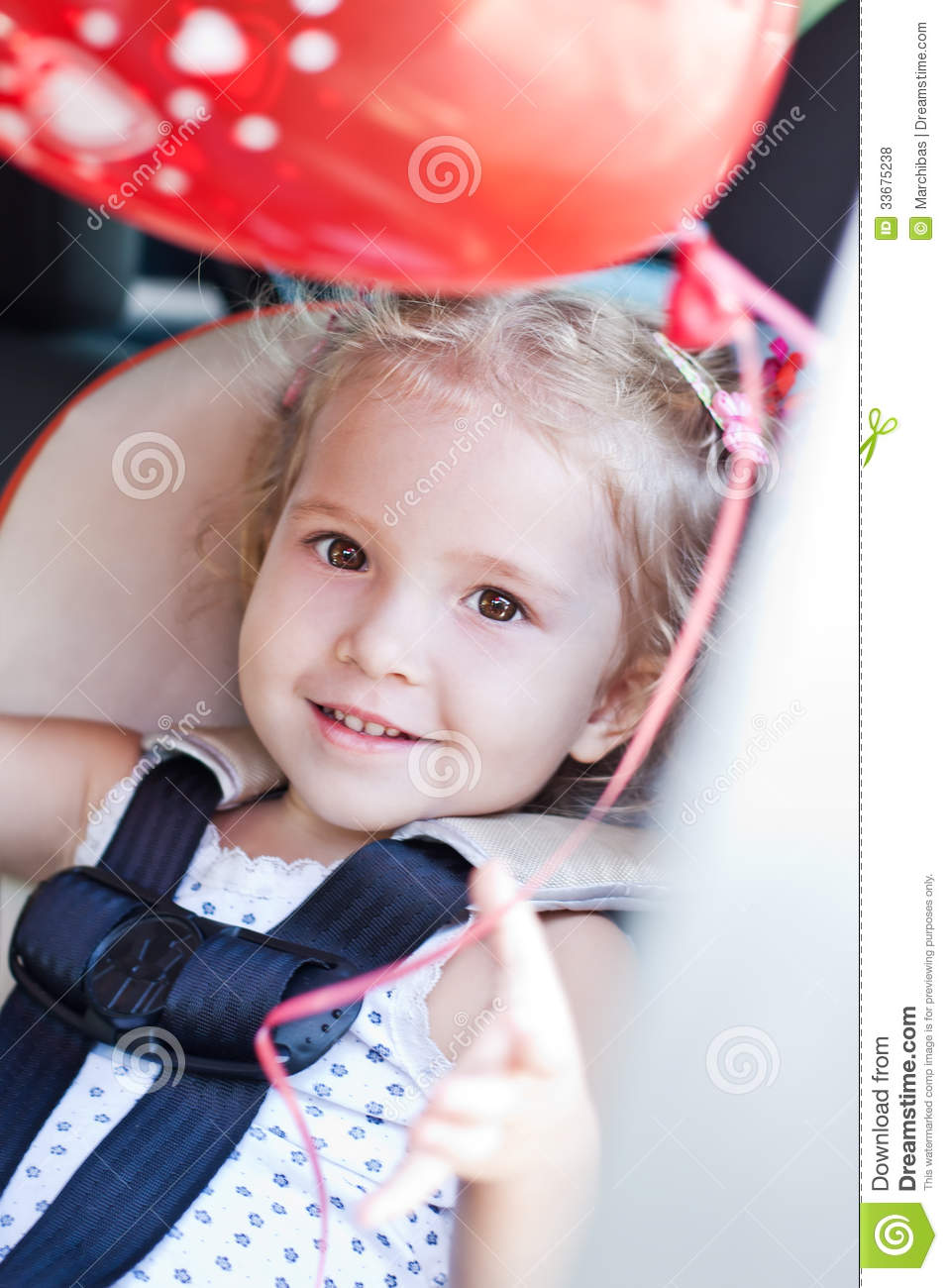 Happy Toddler Girl In Car Seat Stock Photo - Image of ...