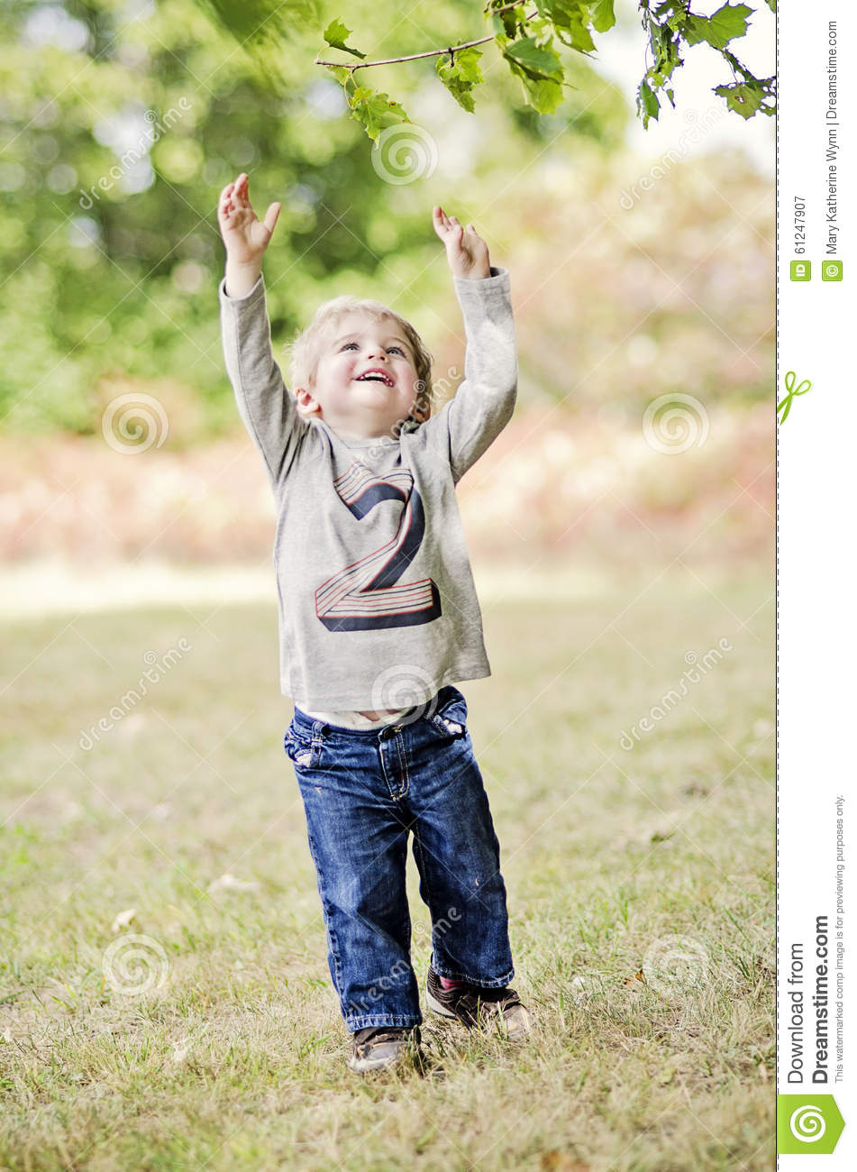 Happy Toddler Reaching Up Stock Image. Image Of Young