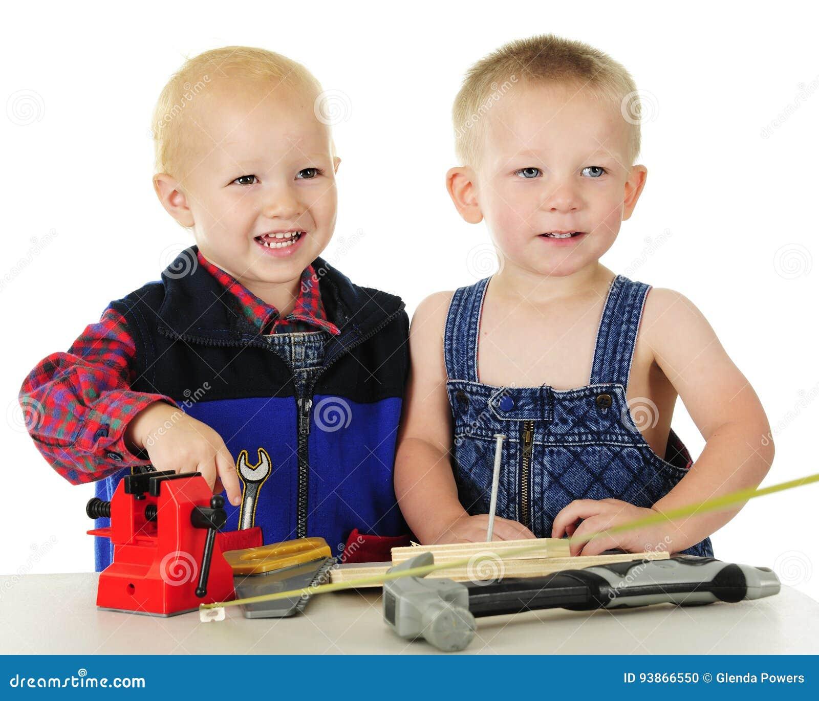 Happy Toddler Tool Men Stock Photo Image Of Blocks Hammer 93866550