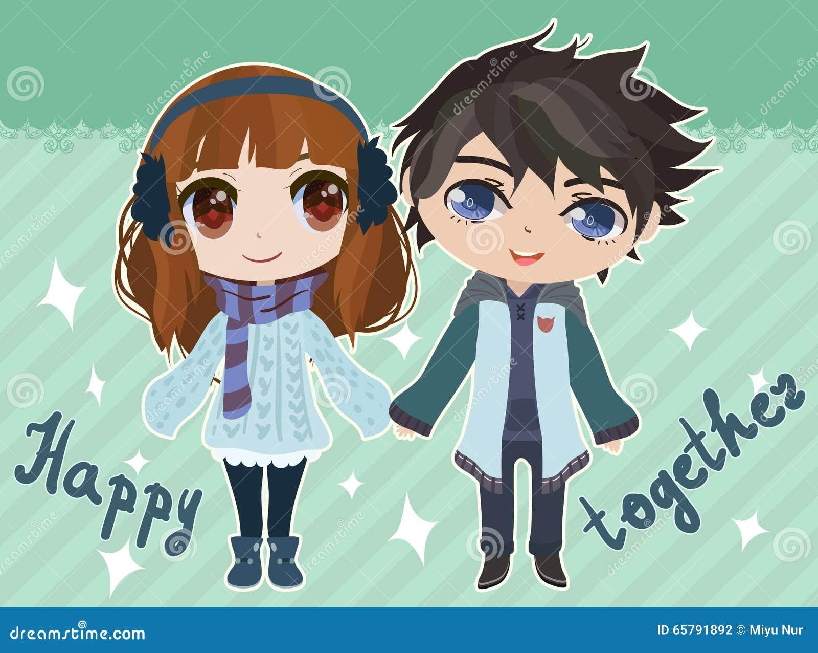 Sweet anime couple card design