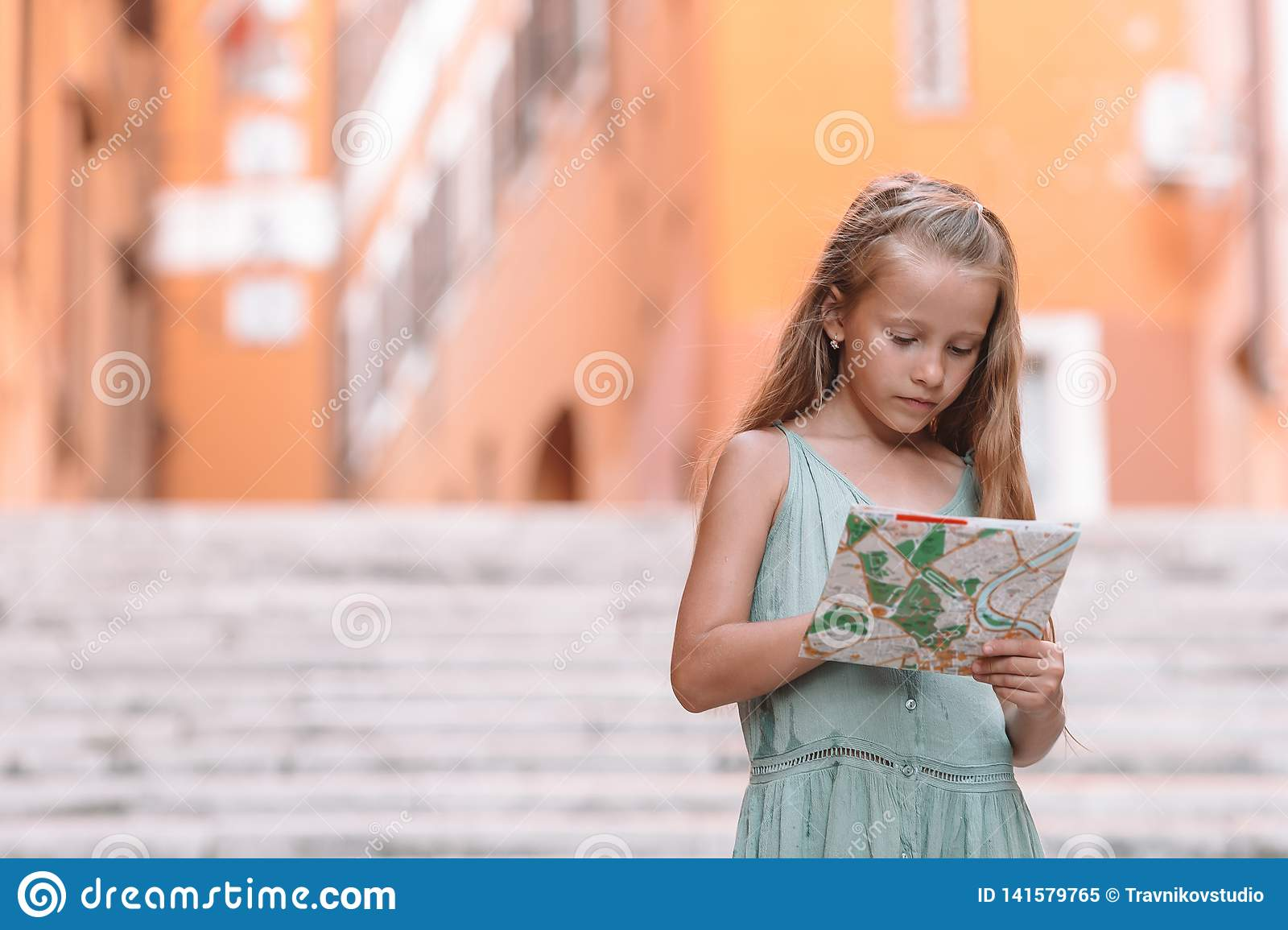 Map Of Italy For Kids.Happy Toodler Kid Enjoy Italian Vacation Holiday In Europe Stock