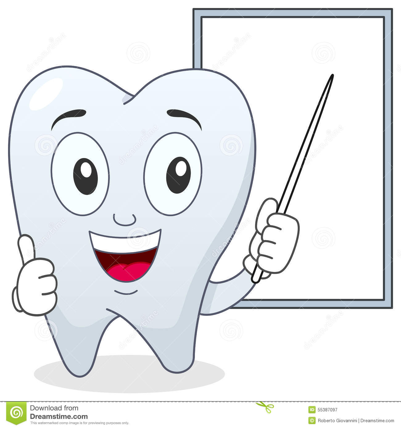 1 Toothed Cartoon Characters : Happy tooth character and white board stock vector image