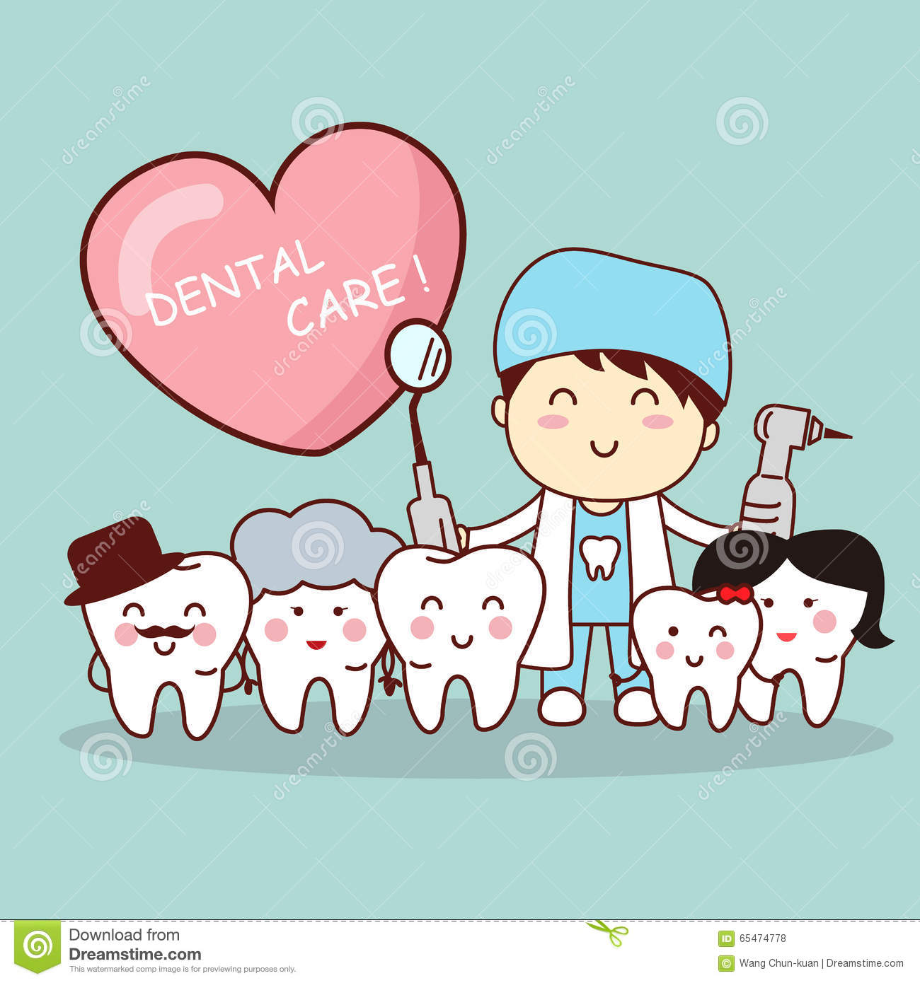 Happy Tooth Family With Dentist Stock Vector Image 65474778
