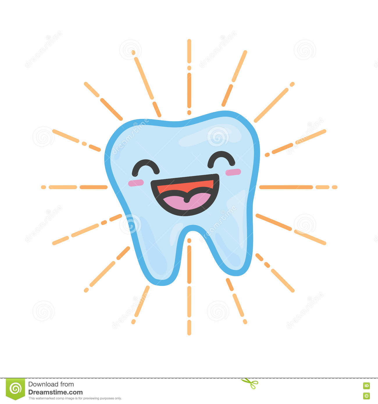 happy tooth kawaii vector illustration stock vector