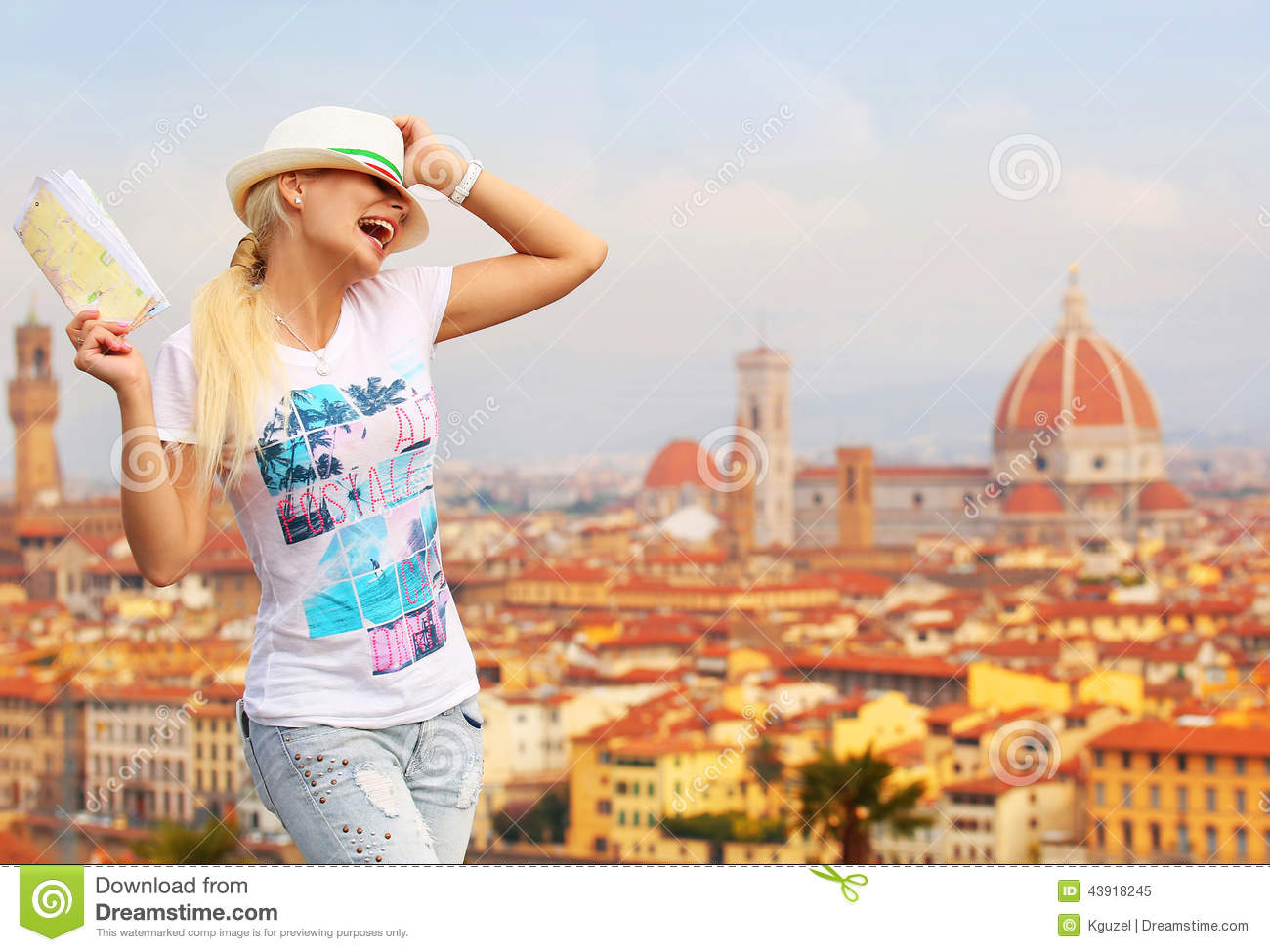 Tourist In Florence Italy On A Sunny Day Looking On The Bridges – Florence Italy Tourist Map