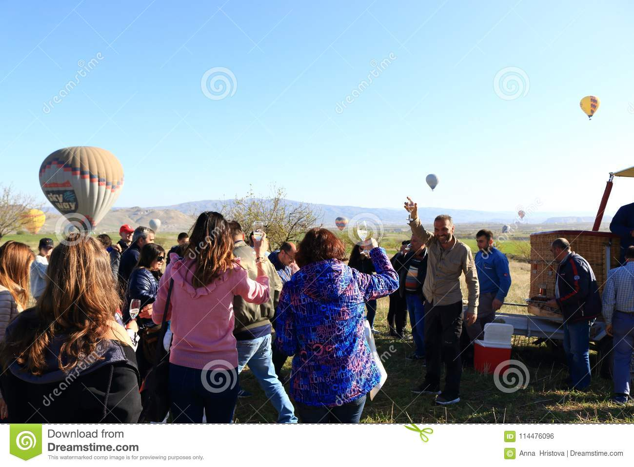 Happy tourists after Hot air balloon tour Cappadocia Turkey