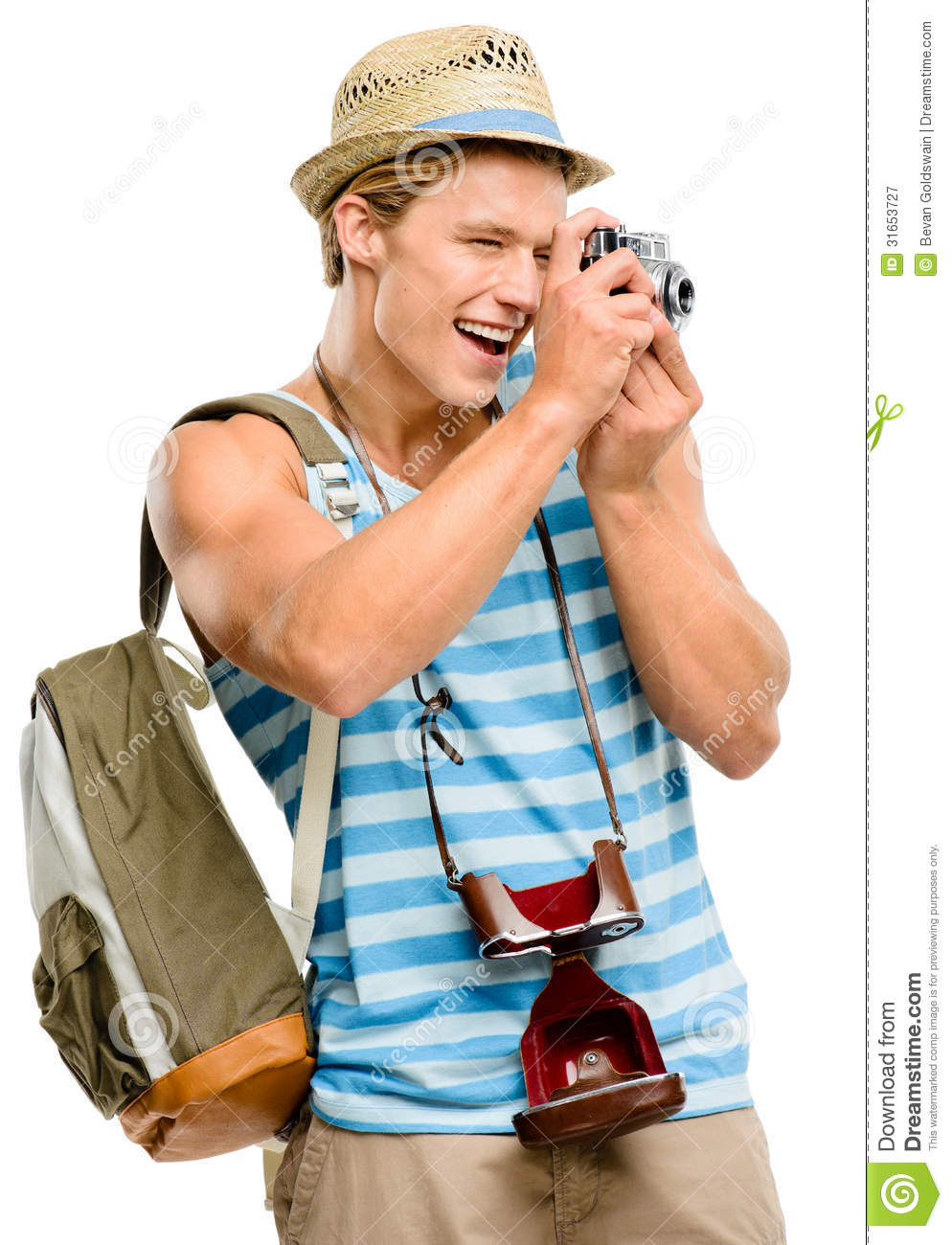 Happy Tourist Man Photographing Vintage Camera Isolated On ...